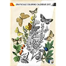 """Coloring Calendar 2017 (12 pages 8""""x11"""") Butterfly and Flowers FLONZ Vintage Designs for Grayscale Coloring"""