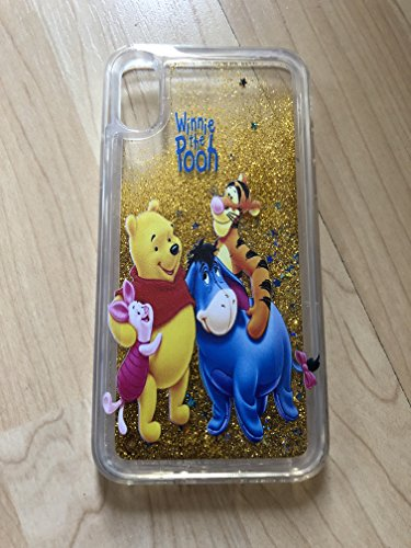 (iPhone XR, Winnie The Pooh iPhone XR Sparkle Liquid Glitter Quicksand Case - Ship From NY)