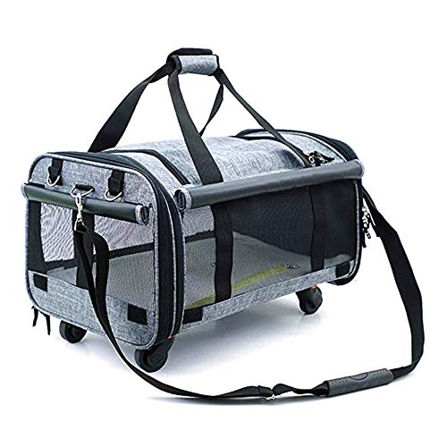 ZNN Pet Bag - Portable Pet Handbag Cat and Dog Out Travel Bag, with Pulley, Breathable Mesh, Save Energy, Suitable for Pets to Travel, Gray ()