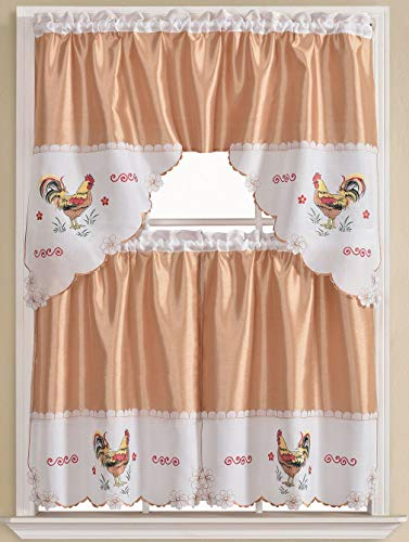 (Golden Rugs Rooster 3pc Kitchen Curtain and Valance Set/1 Swag Valance and 2 Tiers,2 Tiers Width 30