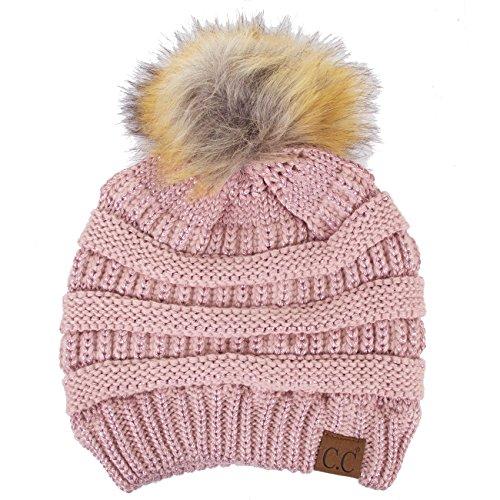- ScarvesMe CC Soft Stretch Cable Knit Ribbed Faux Fur Pom Pom Beanie Hat (Metallic Rose)