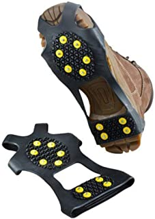 YOTHG 1Pair Ice Snow Grips,10-Stud Anti Slip Ice Grippers Snow Traction Cleats Hiking Fishing Climbing Ice Spiker Slip on Boots Shoes Cover