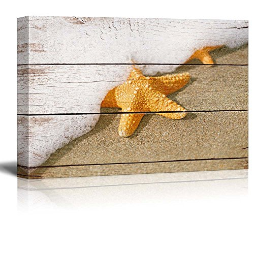 Starfish and Wave on the Beach with Vintage Wood Background