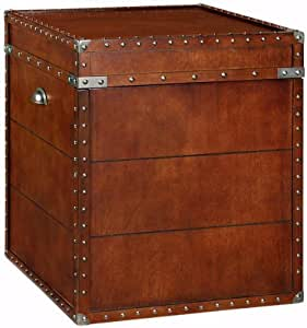 "Steamer Trunk Side End Table, 23""Hx20""W, LIGHT BROWN"