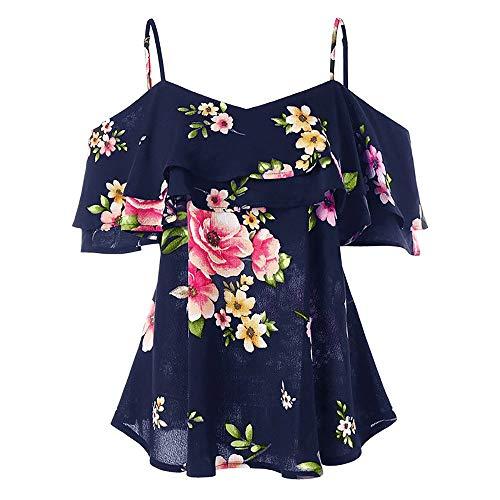 Women Floral Printing Cold Shoulder Shirt Sleeveless V-Neck Vest Tank Tops Blouse Summer Casual Ruffles Chiffon T-Shirt Navy