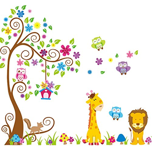 Cartoon-Giraffe-and-Lion-Owls-Scroll-Tree-Nursery-Wall-Stickers-DIY-Vinyl-Removable-Art-Wall-Decals-for-Kids-Room