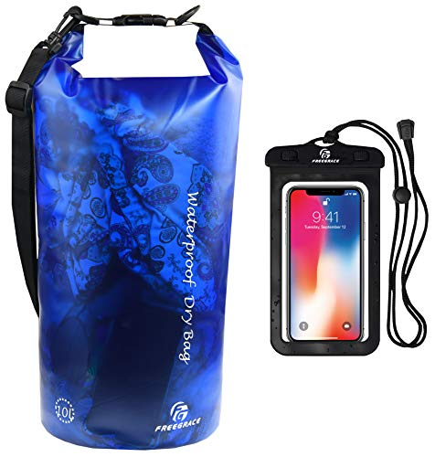 Waterproof Dry Bag - Transparent Lightweight Dry Sack with Strap, Seals and Waterproof Case - Float on Water - Keeps Gear Dry for Kayaking, Beach, Rafting, Boating, Hiking, Camping (Blue) ()