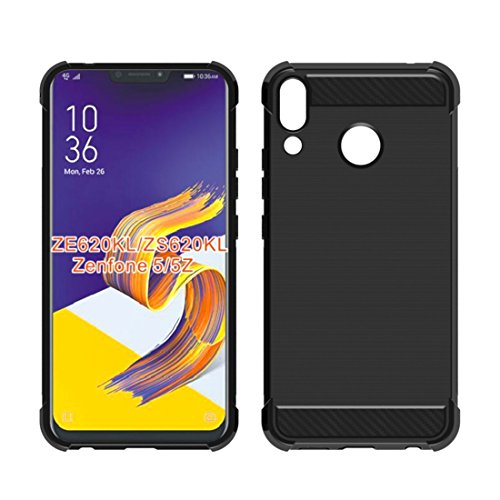 Asus Zenfone 5z ZS620KLCase,Mustaner Shock-Absorption Flexible TPU Rubber Soft Silicone Full-Body Protective Cover for ASUS 5 ZE620KL6.2 Inch (Black)