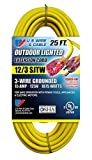 US Wire 74025 12/3 25-Foot SJTW Yellow Heavy Duty Lighted Plug Extension Cord (8-pack)