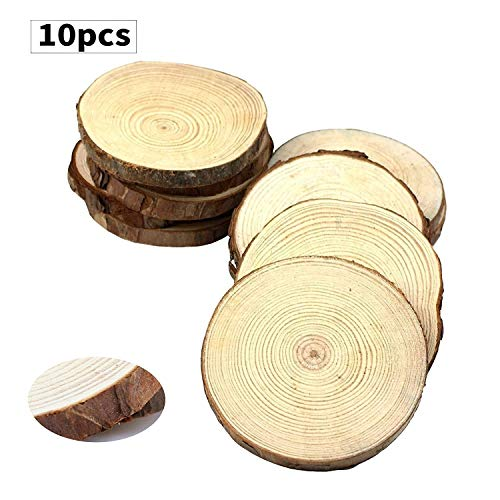 Fuhaieec 10pcs 4-4.7'' Unfinished Natural Wood Circles with Tree Bark Log Discs for DIY Craft Christmas Rustic Wedding Ornaments by Fuhaieec(TM)