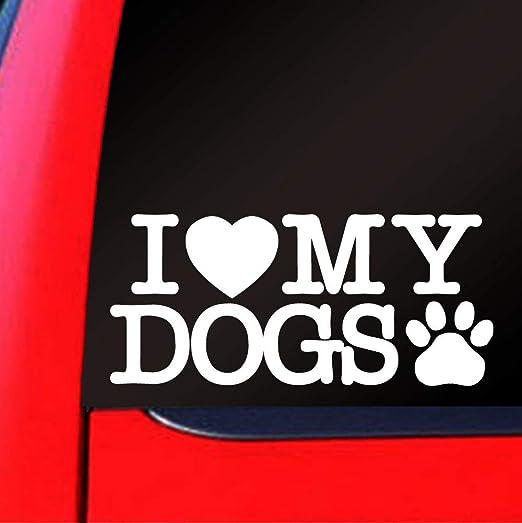 2 x /'I love my rescue dog/' car bumper stickers decals van caravan motorhome