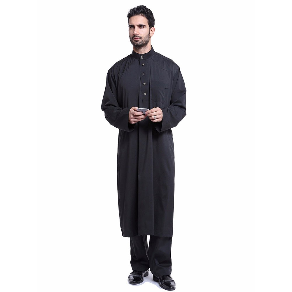 2091ecaad6 Amazon.com: Newest Muslim Arab Middle Eastern Robe Set Solid Color Long  Sleeves Two-Piece Gown Men Clothes: Clothing