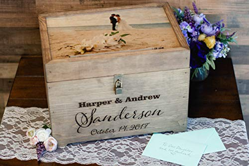 Personalized Wedding Card Box with Photo Print on Wood, First Names, Last Name & Date Engraved