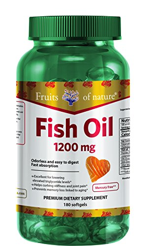 Fish Oil Omega 3 1200 mg burpless, Non After Taste, Quick Release Soft Gels -Premium Dietary Supplement, 360 mg of Omega 3 Essential Fatty Acids per Soft Gel - by Fruits of Nature. by Fruits of Nature