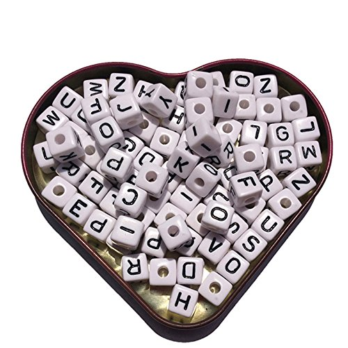 (EmmaGreen Alphabet Letter Beads 10mm White Cubes Random Mix a-z Letters for Christmas Kids Jewelry)