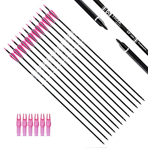 Flecha 30inch carbon con puntas removible x 12 - Pink White