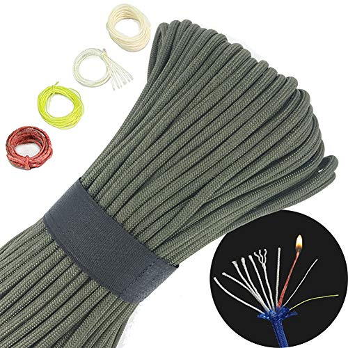 100 Multifunctional 550 Paracord fire Starter Tinder 550 firecord,60 lb Dyneema Fishing Line,100% Cotton Thread (Army Green, 100)