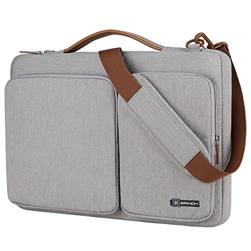 BRINCH 13.3 Inch Laptop Bag w/ Luggage Strap,Mens / Womens Water Resistant Shoulder Messenger Bag 360¡ãProtective Laptop Sleeve Case Purse for 13 - 13.6 Inch Laptop MacBook Chromebook Computers,Grey (Leather Notebook Case Model)