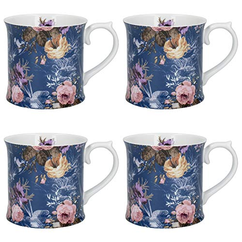 Katie Alice Wild Apricity Tankard-Style Floral Mug with Printed Bird Design, Porcelain, Navy Blue, 400 ml, Set of 4 Mugs