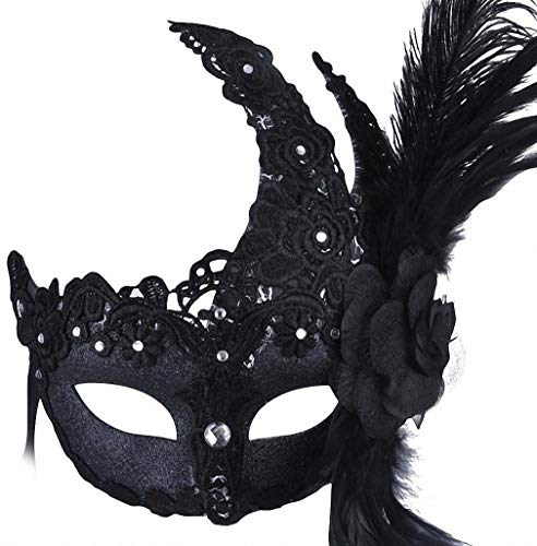 Womens Mask Womens Princess Mask Rhinestone Masquerade Half Face Mask Venetian Lace Cosplay Mask with Feathers Flower Black