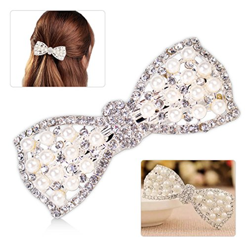 Crystal Pearl Bow Hair Clip Hairpin Barrette Head Ornaments Accessories Women