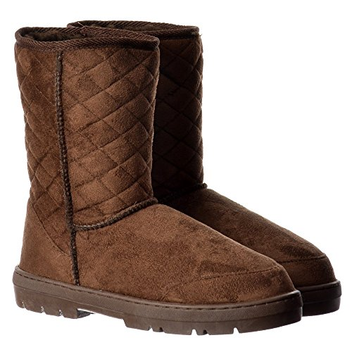Slouch Women's Quilted Fur Ella Brown Flat Chestnut Brown Winter Synthetic Black Ladies Brown Lined Boot Ankle Midi SwvqdqBCx