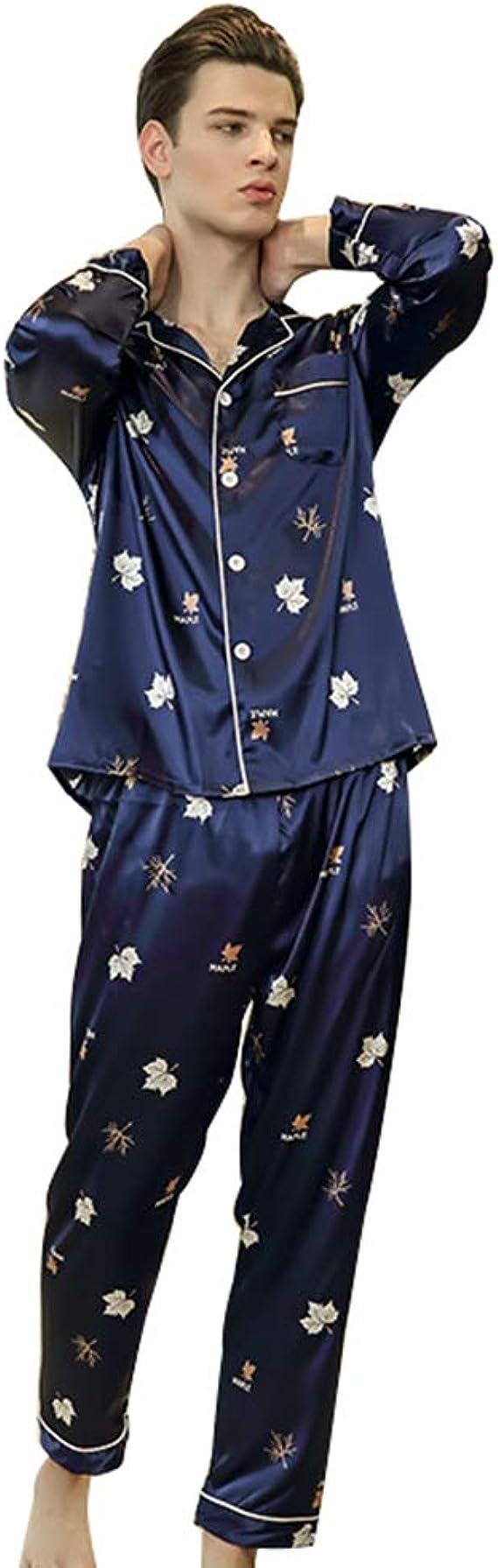 WanYangg Pijama De Raso Hombre Hoja Impresa Pijamas Masculinas Pijama De Satén Imitación Seda Mangas Largas Conjunto De Pijama con Botones