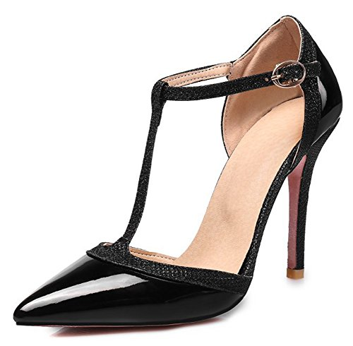 Aisun Women's Sexy Buckled Dressy Strappy Pointed Toe T Strap Stiletto High Heel D'Orsay Pumps Shoes with Ankle Strap (Black, 9 B(M) US) (Leather T-strap Wrap)