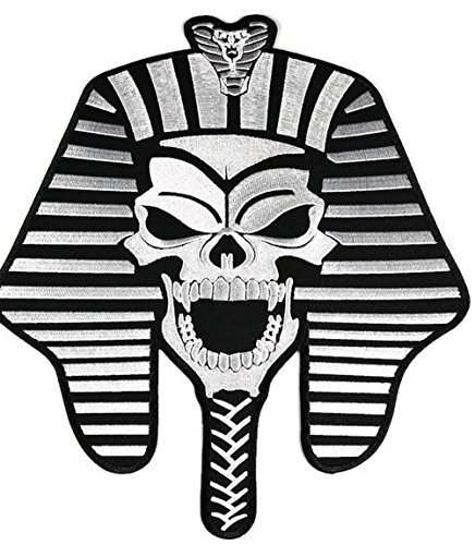 9.0 inches x 10.75 inches Large Skull Skeleton Ghost Fharaoh Mummy Egypt God King Logo Back Jacket T-shirt - Egypt Us Polo