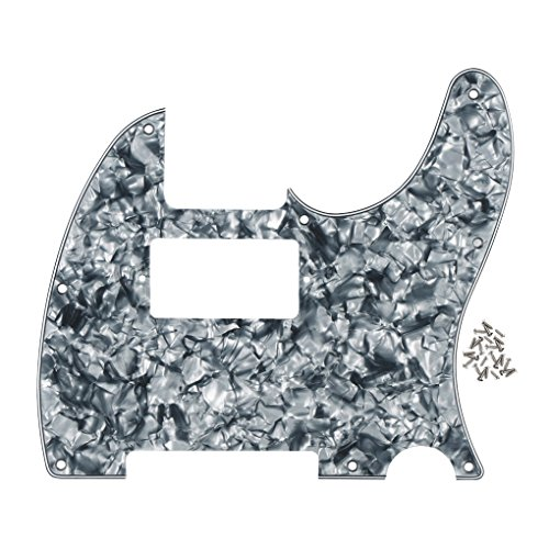 FLEOR 4-Ply 8 Holes TELE Scratch Front Plate Humbucker Style Pickguard for Telecaster Style Guitar Replacement,Grey Pearl - Parts Tele Pickguard