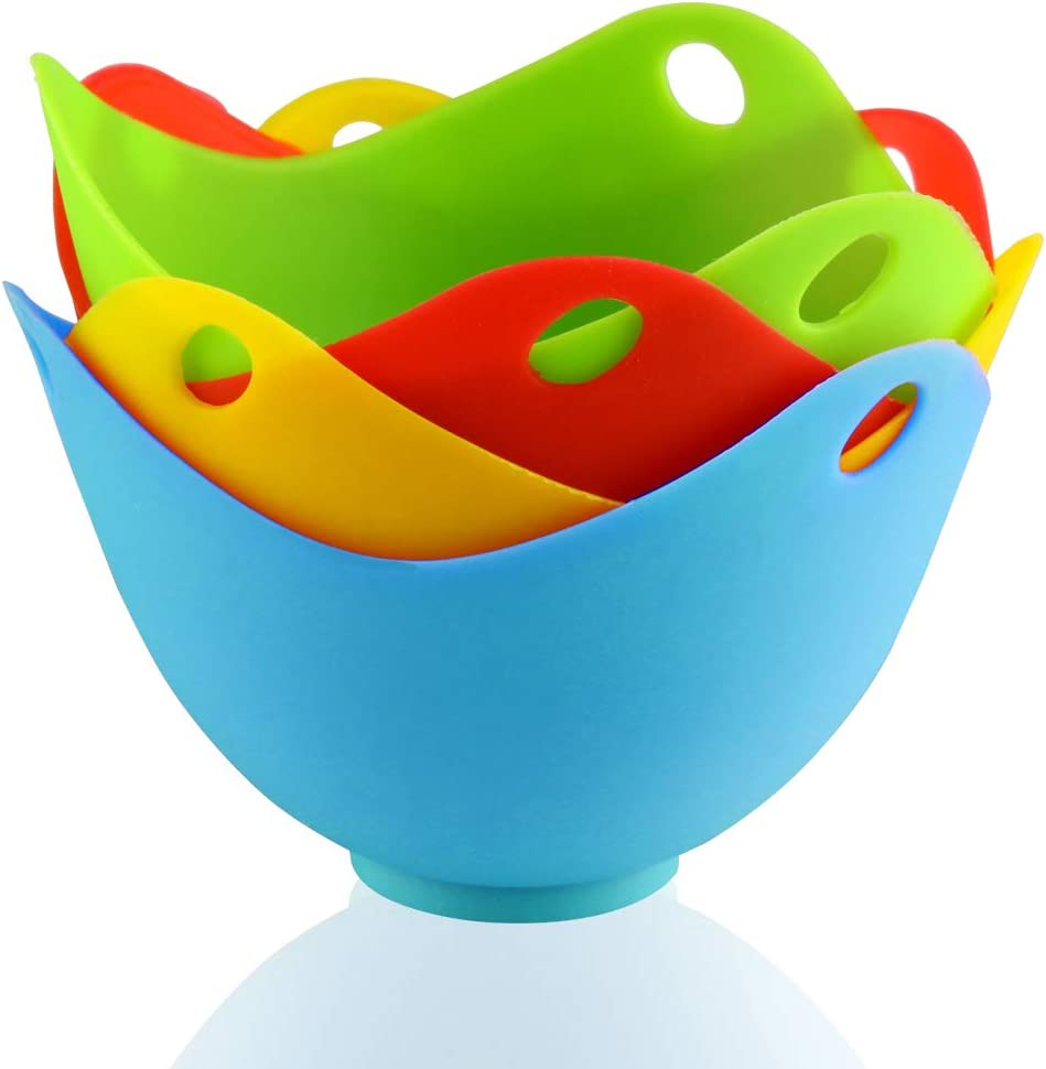 Blue,Yellow,Green,Orange Andux Egg Poacher Set of 4 Cooking Perfect Poached Eggs ZDQ-02