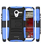i-Blason Motorola Moto X Prime Series Dual Layer Holster Case with Kickstand and Locking Belt Swivel Clip (Blue)