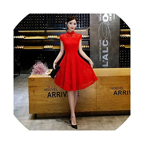 (2019 New Cheongsam Lace Long Section Short-Sleeved Slim Collar Collar Slim Red Cheongsam Dress Bridal Skirt,2208 Red,M)