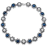 FC JORY Vintage Style Multi-Gold GP Blue Clear Pink Collar Choker Bib Necklace