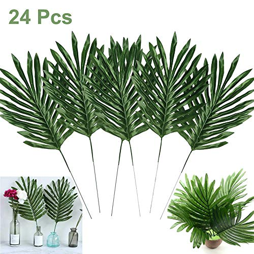 (Artiflr 24 Pcs Faux Palm Leaves with Stems Artificial Tropical Plant Imitation Safari Leaves Hawaiian Luau Party Suppliers Decorations,Tiki,Aloha Jungle Beach Birthday Leave Table)