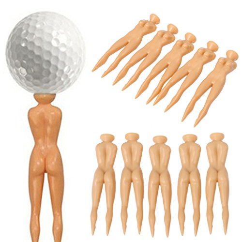 Cencity 5 Pcs Nude Ladies Golf Tees Nuddie Naked Golfers Ball Tees Ball Support for Kids, Raves, Birthday, Wedding, Christmas, Halloween, Children Party Decor -