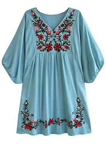 - futurino Women's Bohemian Embroidery Floral Tunic Shift Blouse Flowy Mini Dress Aqua Blue