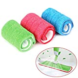 Microfibre Mop Pads, 3 Pieces Spry Mop Cleaning Pads, Microfiber Hardwood and Floor Cleaning Pad Replacement Heads for Wet/Dry Mops