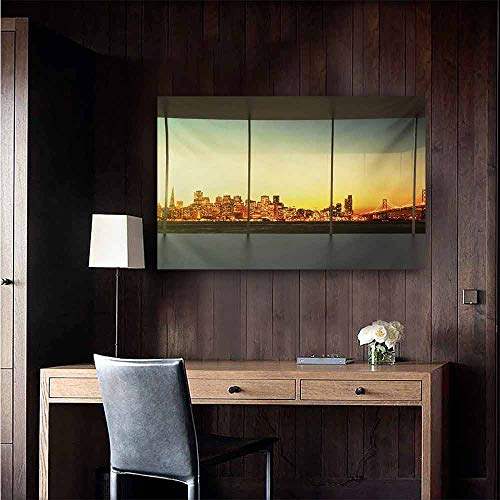 - duommhome Modern Wall Art Decor Poster Painting Empty Office at Sunset with View to Skyline Architecture Downtown City Art Decorations Home Decor 24