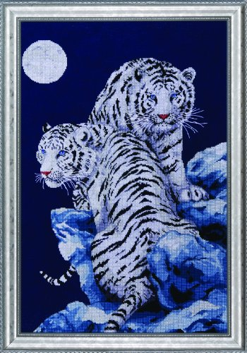 Moonlit Tigers Counted Cross Stitch Kit-16X23 14 Count
