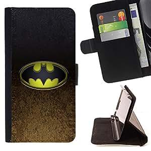 BullDog Case - FOR/Sony Xperia Z1 Compact D5503 / - / Bat Superhero /- Monedero de cuero de la PU Llevar cubierta de la caja con el ID Credit Card Slots Flip funda de cuer