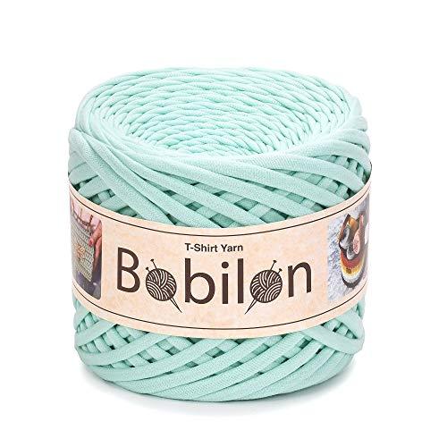 T-Shirt Yarn Fettuccini Zpagetti Style - Tshirt Yarn for Crocheting - Ribbon Yarn 100% Cotton - Knitting Yarn Ball - T Yarn Organic - Macrame T-Yarn - Thick Fabric Yarn - Jersey Yarn Mint