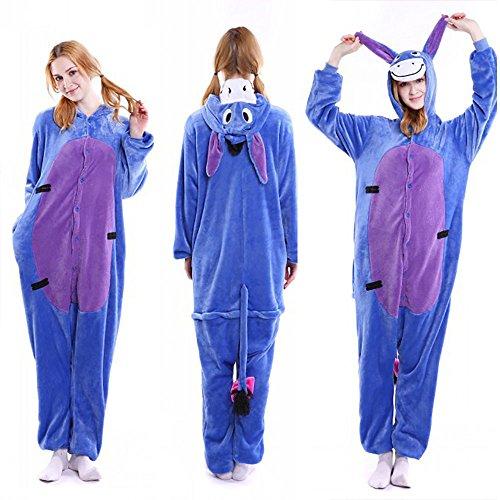 Adult Costumes Eeyore (FLEAP Onesie Pajamas Animal Sleepwear Kigurumi Cosplay Cartoon Nightwear)