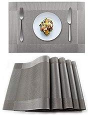 Heat-Resistant Crossweave Woven Set of 4 Placemat PVC Placemats-EXCO Kitchen Place Mats Washable PVC Table Mats Set of 4