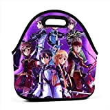BOKAIKAI1306 Handsome Sword Art Online Unisex Students Portable Lunch Bags Zippers Lunch Box Portability Bento Bag Adults Container Case for Picnics School Office