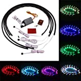 """7 Color LED Under Car Glow Underbody System Neon Lights Kit 48"""" X 2 & 36"""" X 2 W/sound Active Function and Wireless Remote Contro"""