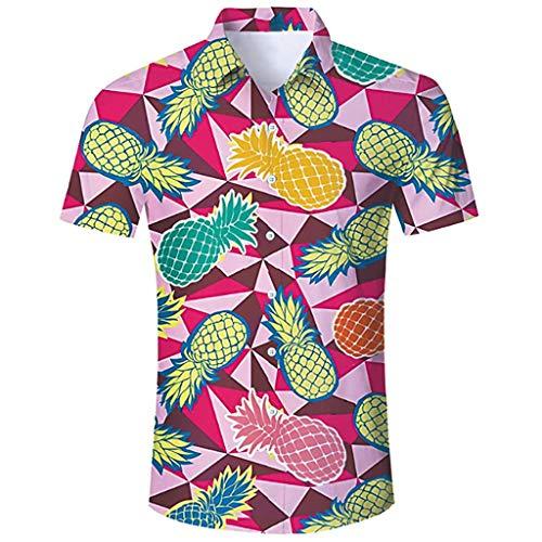 (Toimothcn Men's Tropical Floral Print Hawaiian Shirt Short Sleeve Lapel Button Down Aloha Shirt (Multicolor2,M))