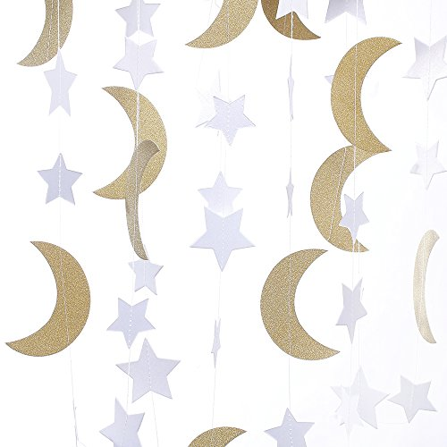 ZOOYOO Glitter Paper Garland Moon and Stars Ornaments,for a Variety of Activities and Party Supplies.10ft-2pcs-Gold/White