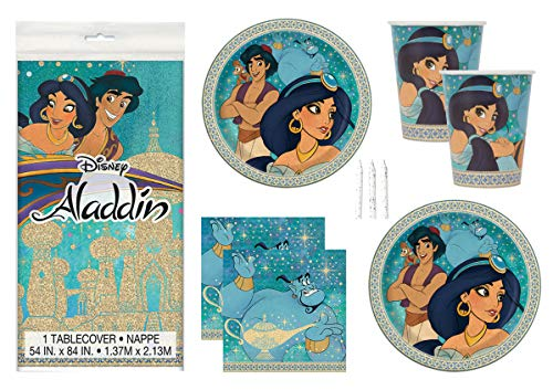 Princess Jasmine Birthday Party Supplies (Aladdin Theme Birthday Party Supplies Set Serves 16 - Tablecover, Banner Decoration, Plates, Napkins, Cups and Candles - Jasmine and)