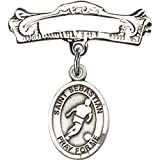 Sterling Silver Baby Badge with St. Sebastian/Soccer Charm and Arched Polished Badge Pin 7/8 X 7/8 inches